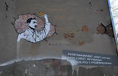 Hate is easy, Love requires effort and sacrifice (rafasmm) Tags: lodz łódź poland polska europe city street outdoor citycenter memory graffiti edelman