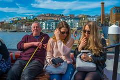 Passengers.... (Dafydd Penguin) Tags: ferry girls blonde man candid boats vessel no7 bristol floating harbour harbor passengers harbourside uk street colour sunny day nikon df nikkor 35mm af f2d