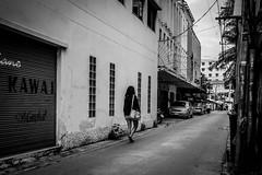 Lonely Walk | Bangkok 2016 (Johnragai-Moment Catcher) Tags: people photography blackwhite blackandwhite bangkokstreet momentcatcher monocrome johnragai johnragaiphotos johnragaistreet johnragaibw