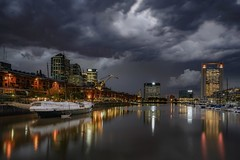 The storm (karinavera) Tags: travel sonya7r2 buenosaires night argentina clouds marina puertomadero storm cityscape longexposure city