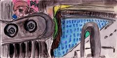 an diesen Tagen hatten die Beine geschmerzt und Zeitungen gab es auch kaum noch (raumoberbayern) Tags: bayern bavaria germany sketchbook skizzenbuch tram munich münchen bus strasenbahn pencil bleistift ballpoint paper papier robbbilder stadt city landschaft landscape spring frühling summer sommer lake trip ubahn subway