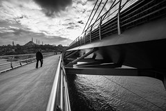broaden your mind / the fabric of life (Özgür Gürgey) Tags: 14mm 2017 bw d750 goldenhorn haliç nikon samyang architecture bridge clouds lines sky subway vanishingpoint wideangle istanbul turkey
