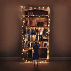 Bookshelf (laurawilliams▲) Tags: bookcase surreal fine art surrealism fairylights fairytale giant