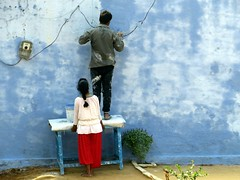india 2015 on the road (gerben more) Tags: people woman man painting wall colours colors india rajasthan