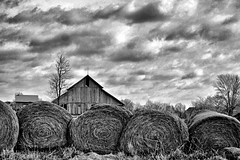 Highway 56 Kansas Barn (pam's pics-) Tags: ks kansas barn highway56 midwest us usa bw pamspics pammorris farm hay bales snapseed sonya6000 roadtrip bluehighways offtheinterstate rural abandoned