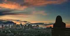 ...living in the moment! (aliammaar84) Tags: skyscrapper light dusk dawn clouds silhouette canada edmonton gallagharpark