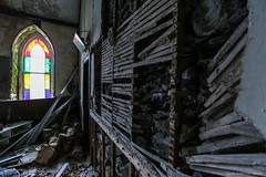The Power & The Glory (john&mairi) Tags: tanycelyn derelict chapel disused abandoned maenan conwyvalley a5 northwales latheplaster stainedglass crumbling ruin wales