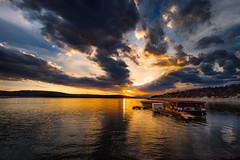 Sunset over dam komprinka (dontgiveacake) Tags: dam koprinka bulgaria sun set clouds spring water lake dream