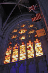 Amber Windows with Flags (JB by the Sea) Tags: sanfrancisco california april2017 urban nobhill gracecathedral church gothic frenchgothic stainedglass