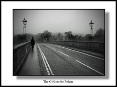 The Girl on the Bridge (The Jacobite) Tags: winter blackandwhite girl figure lamps bridge road trees dark whitelines daughter december