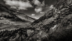 Doorway to ogwen (Einir Wyn Leigh) Tags: blackandwhite valley landscape sky monochrome drama stone outside outdoor clouds wales