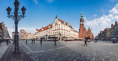Wroclaw Town Hall and Market Square (krugli) Tags: wroclaw city hall town market square old architecture poland travel landmark medieval european building center house silesia europe polish history breslau sightseeing rynek facade exterior tower tourist popular cityscape ratusz clocktower wideangle view attraction main historical cultural pedestrian lower colorful traditional cobblestone panorama editorial street lamp capital evening panoramic walkway