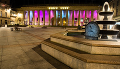 Caird Hall and Fountain - IMG_1243 (kpttnuts) Tags: cairdhall citysquare columns dundee fountain night paintingwithlight pink purple