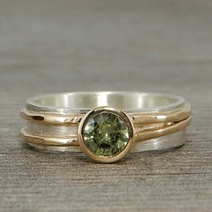 Green Montana moissanite, recycled 14k yellow gold, and sterling silver ring (mcfarlanddesigns) Tags: ethical handmade jewelry ring rings engagement wedding bands gems gemstones recycled green montana sapphire 14k yellow gold sterling silver asymmetrical