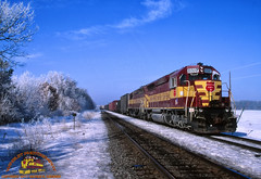 WC 6597 East at Orchard 3/3/01 (Winglet Photography) Tags: train rail railroad railfan wc wcl transport transportation georgewidener georgerwidener stockphoto wingletphotography wisconsincentral wisconsincentralltd fallenflag beforecn orchard stevenspoint wisconsin ice icy winter cold snow track emd sd45 6597