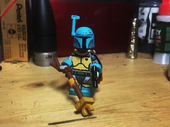 Boba Fett (Alternate) (LordAllo's Belle Reve) Tags: lego star wars holiday special boba fett custom painted minifigure acrylic luke skywalker han solo princess leia chewbacca r2d2 c3po darth vader