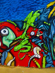 The Sky is Falling (Steve Taylor (Photography)) Tags: jacob yikes eye clouds art mural graffiti streetart abstract colourful contrast vivid newzealand nz southisland canterbury christchurch cbd city