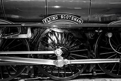 Flying Scotsman Wheel (rustyruth1959) Tags: nikon nikond3200 nikkor1855mm yorkshire york nrmyork flyingscotsman locomotive wheel train bw monochrome blackwhite engine nameplate indoor