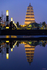 Giant Wild Goose Pagoda (_Hadock_) Tags: ct giant wild goose pagoda xian china reflex reflect xina mirror water charco agua reflejo espejo night nightphotography photography photo creative commons comons fullhd fondo de pantalla screensaver desktop travel world holiday amazing lights light free nikon d750 tamron 2470