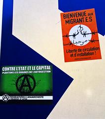 Bienvenue aux migrant-e-s, liberté de circulation et d'installation ! (Doubichlou14) Tags: bienvenue aux migrantes liberte de circulation et dinstallation contre létat le capital plantons les graines lautogestion manifestation parisienne anticapitalism