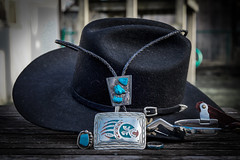 When Cowboys Dress Up (jah32) Tags: jewelry silver design handcrafted beltbuckle ring nativeamericanjewelry spurs hat cowboyhat blackhat vignette bolo bolotie turquoise blue inlay innercowboy