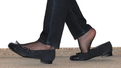 blue ballet flats, nylons and jeans (Isabelle.Sandrine1999) Tags: blueballetflatsnylonsandjeans leather shoes pumps ballet flats ballerinas sabrinas tattoo anklet jeans nylons stockings shoeplay dangling feet legs