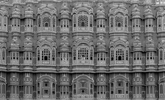 Hawa Mahal Jaipur Closeup I100 18mm f5.6 s200 -2/3EV AP Evaluative Metering BW (mahesh.kondwilkar) Tags: 2009 hawamahal jaipur rajasthan ranthambhore incredibleindia india