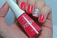 Desafio dos Clássicos #8 - Malícia. (Raíssa S. (:) Tags: esmalte unhas nails naillacquer nailpolish nailart nailpainting red cremoso creamy risqué sticker corujas desafiodosclássicos