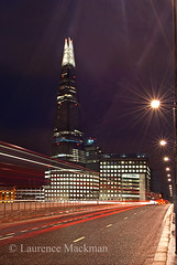 LondonBridge 036 E W (laurencemackman) Tags: lighting longexposure bridge england london tower cars glass architecture modern night reflections londonbridge concrete photography lights twilight traffic piers architect historical elevation architects shard riverthames renzopiano span streamline londonbridgestation londonskyline broadwaymalyan theshard motthayandanderson lordholford
