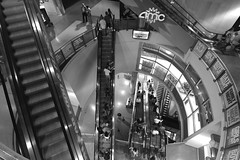 Escalators (.enKay) Tags: people bw white toronto black public canon square angle wide tokina escalators dundas 1116 60d