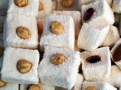 Sweet turkish delights with nuts