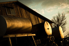 (Full of His Grace) Tags: sunset barn diesel garage eaton goldenhour tanks