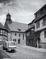 Home...once again (uhx72) Tags: street bw white black germany town thringen medieval thuringia mhlhausen