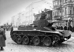 "The tank BT-7 in Leningrad, 1941 • <a style=""font-size:0.8em;"" href=""http://www.flickr.com/photos/81723459@N04/9191287302/"" target=""_blank"">View on Flickr</a>"