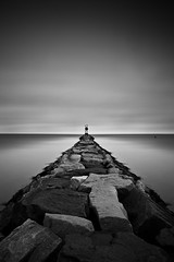Stop Ahead (headcycle) Tags: ocean sea blackandwhite bw white ny seascape black beach water monochrome clouds sunrise canon mono am high rocks long exposure jetty tide le nd 5d density riverhead markii neutral