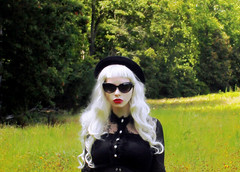Summer Daze (Porcelain Veins) Tags: red summer black girl field hat sunglasses vintage lace goth meadow lipstick cateye whitehair