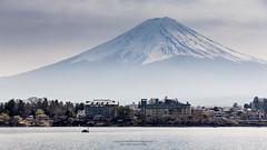Mt. Fujiyama (notjustnut) Tags: sky mountain lake snow japan fuji village fujisan mtfuji yamanashi kawaguchiko kawaguchilake