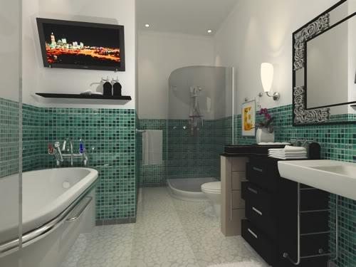 Banheiros com pastilhas decorado