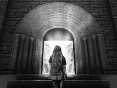 Stairway to Heaven (Sabry Ardore) Tags: door light white black brick art church girl architecture lady angel digital photoshop dark heaven paradise artist arch god gothic goth stairway column editing lightning edit knocking