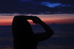 Silhouette (Valentina White) Tags: blue sunset red sea portrait sky sun abstract colour me girl beautiful silhouette self canon photography eos dance long exposure mare mood happiness sicily feeling capo carefree sicilia breezy selfie 650d dorlando