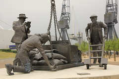 'Landed' - Sculpture at Royal Victoria Docks, London (Blake's Mum) Tags: sculpture bronze landed eastend royalvictoriadocks londonboroughofnewham dockworkers lesjohnson