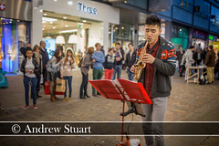 Arndale jazz busker (andrew.stuart1) Tags: street city music 35mm manchester artist market live centre crowd band streetphotography sigma andrew stuart busker busking arndale andrewstuart