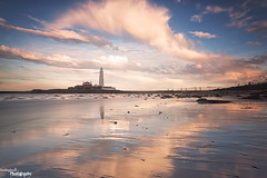 Clouds Roll By (Dave Brightwell) Tags: sunset sky lighthouse beach clouds canon reflections photography coast northumberland northsea northeast hitech whitleybay stmarysisland bwnd