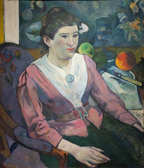 """Woman in Front of a Still Life by Cézanne"" by Paul Gauguin (mark6mauno) Tags: woman front still life by cézanne paul gauguin painting theartinstituteofchicago the art institute chicago nikkor 2470mmf28g nikond4 nikon d4"