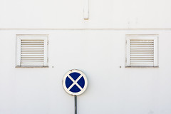 'Sophistry' (Canadapt) Tags: blue white abstract building portugal sign wall cross graphic louvre geometry loures sophistry canadapt