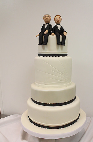 Grooms' Modern Black white Wedding Cake