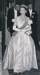 Princess Elizabeth at reception (romanbenedikhanson) Tags: tiara photo reception eveninggown 1949 britishroyalfamily princesselizabeth originalphoto britishroyalty longwhitegloves