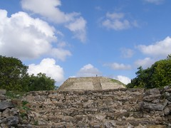 Uh-Oh (Melinda ....) Tags: people urban archaeology monument stone architecture stairs america construction ancient worship tour pyramid maya steps culture yucatan holy sacred access preserved preservation indigenous izamal inah 2013 mystuart mayafieldworkshops