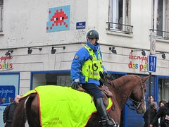 Space Invader PA_961 feat. Horse in the City (tofz4u) Tags: street people horse streetart paris tile cheval mosaic helmet spaceinvader spaceinvaders police invader rue mosaque casque artderue 75011 garderpublicaine pa961