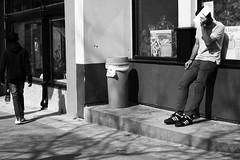 nopicturesplease (local paparazzi (isthmusportrait.com)) Tags: street windows winter shadow people blackandwhite bw hairy white man black male texture blancoynegro blanco window lines sunshine sunglasses wall contrast trash canon eos 50mm prime spring pod shoes warm downtown break pants bright habit pavement f14 candid watch negro streetphotography sunny shades hidden sidewalk crop learning almost usm sweatshirt madisonwi waste trashcan fullframe adidas hiding ef laces stucco peoplewatching wastebasket isitspringyet autofocus 2014 harshshadows wesli 50mmf14usm danecountywisconsin photoshopelements7 canon5dmarkii pse7 localpaparazzi redskyrocketman lopaps